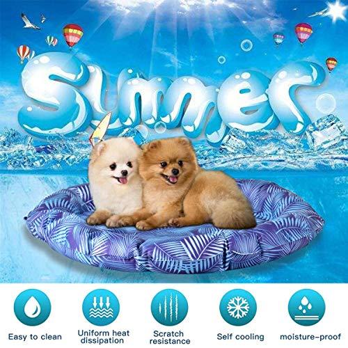 Queta Hundekühlmatte Haustierkühlmatte Kühlkissen für Haustiere Gel-Haustierbett Hundebett Katzenbett,Ideal für Zuhause und Reisen im Sommer Durchmesser 54cm (Stil 2)