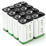 BAKTH Batterie 9 Volt avanzata agli ioni di litio 650mAh 9V ad alta capacità bassa auto-scarica agli ioni di litio ricaricabili (8 pezzi)