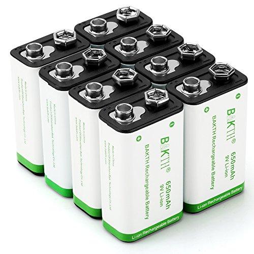 BAKTH Pilas Recargables Li-Ion 9V 650mAh Rendimiento más Alto Litio de Batería (8 Piezas)