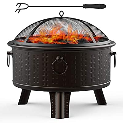 GOOGNICE Fire Pit Outdoor Fire Pits Outdoor Wood Burning with Spark Screen Cover and Poker (Round)
