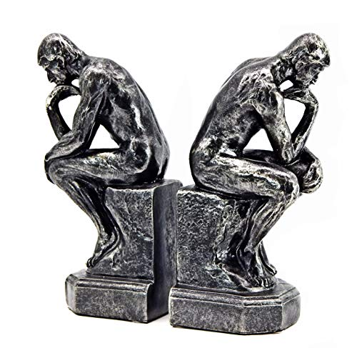 Bellaa 25594 Golden Rodin's Thinker Bookends Set of 2 Auguste Collectible