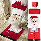 Ohuhu Santa Toilet Seat Cover, 4-Piece Christmas Toilet Seat Cover and Rug Set, Santa on The Toilet Ornament, Santa Claus Toilet Seat, for Happy Christmas Decorations Bathroom Decor Red