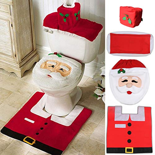 Ohuhu Santa Toilet Seat Cover, 4-Piece Christmas Toilet Seat Cover and Rug Set, Santa on The Toilet Ornament, Santa Claus Toilet Seat, for Happy Christmas Decorations Bathroom Decor Red