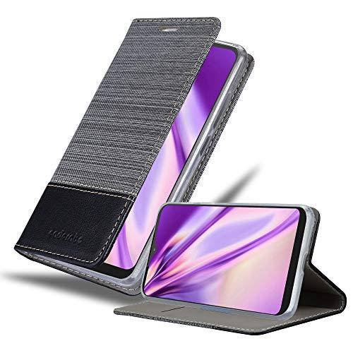 Cadorabo Hülle für Motorola ONE Macro in GRAU SCHWARZ - Handyhülle mit Magnetverschluss, Standfunktion & Kartenfach - Hülle Cover Schutzhülle Etui Tasche Book Klapp Style