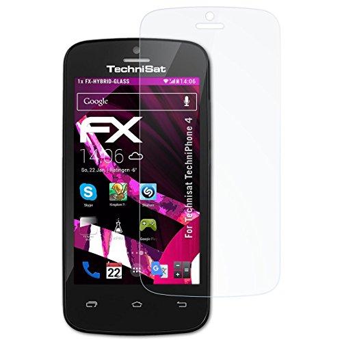 atFolix Glasfolie kompatibel mit Technisat TechniPhone 4 Panzerfolie, 9H Hybrid-Glass FX Schutzpanzer Folie