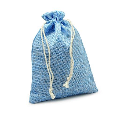 Ganzoo 24er Set Jutesäckchen für Adventskalender zum selbst befüllen, 17,5cm x 12,5cm, Jutebeutel, Stoffbeutel, Natur Säckchen, Geschenksäckchen, Sack, Beutel – Marke (Hellblau)