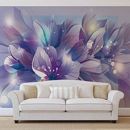 Blumen Natur Lila - Forwall - Fototapete - Tapete - Fotomural - Mural Wandbild - (765WM) - XXL - 368cm x 254cm - Papier (KEIN VLIES) - 4 Pieces