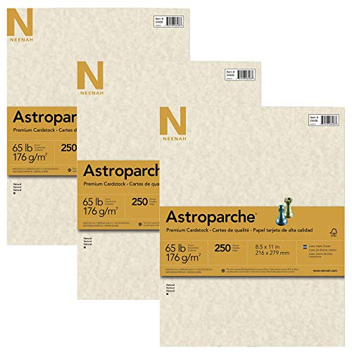 Neenah Paper 26428 Astroparche Specialty Card Stock, 65lb, 8 1/2 x 11, Natural, 250 Sheets, Pack of 3