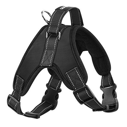 Pawaboo Chaleco Arnés de Perro - Adjustable/Duarable Tarea Pesada Suave Reflejo Acolchado Dog Vest Harness con Manija en Top para Pet Dog Ejercicio de Caminar, Talla Mediana, Negro