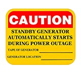 5x3.5 inch Caution Standby Generator Automatically Starts During Power Outage WarningLabel Electrical Alternative Energy Stickerfor Industrial Notices (8 Pack)