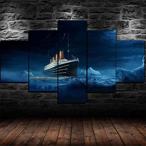 Cuadro En Lienzo,Imagen Impresión,Pintura Decoración,Canvas De 5 Pieza,175X80Cm,Gran Barco Titanic Ice Burg Mural Moderno Decor Hogareña con Marco