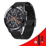 SmartWatch - Reloj deportivo para hombre con Android Smartwatch, contestar llamadas y mensajes con Bluetooth, monitor de la frecuencia cardíaca, de la presión arterial, reloj para música