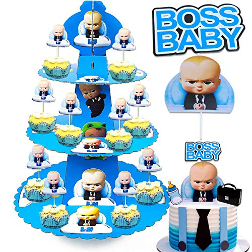 TOXYU 39PCS Baby Boss Cake Topper, Baby Boss Cupcake Stand, 3 Tier Cakes Stand Wrappers, 32Pcs Baby Boss Cake Topper Party Decoration Supplies