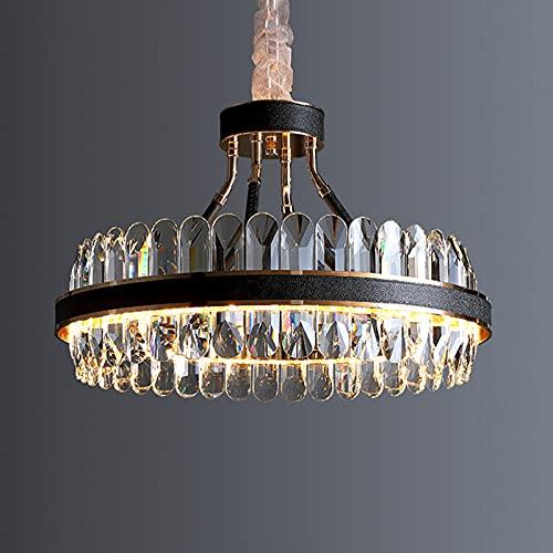 LANTING Oro Moderno Regulable LED Dormitorio Lámpara Colgante Redonda Negro Hotel Loft Cafe Comedor luz colgante Cristal Metal Deco Diseño Art Style Colgante de Luz 55x37cm 40w