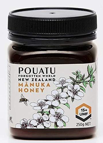 """Miel de Manuka de Pouatu UMF 15+ (MGO > 514), authentique et non traité. 250g. Produit du """"Monde oublié"""" en Nouvelle-Zélande. Avec certificat vétérinaire du gouvernement de la Nouvelle-Zélande"""