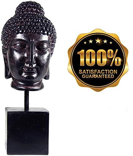 Bellaa 22623 Buddha Head Statue Rustic Spiritual Bodhi Bust Buda Calming Zen Meditation Figurine 14 Inches