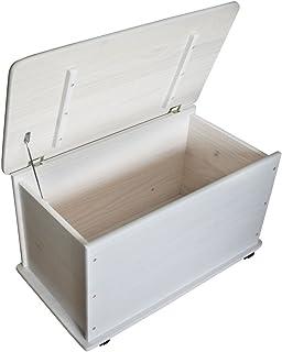 KMH®, Caja de juguetes de madera de pino macizo con ruedas (blanco) (#800057)