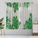 Alandana Tropical Decor - Cortinas a prueba de líquidos, diseño tropical con hojas de palmera en el fondo de la rejilla, 2 paneles, cada panel de 27.5 pulgadas de ancho x 45 pulgadas de largo