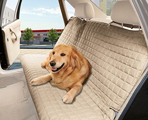 Elegant Comfort Quilted Design0 Waterproof Premium Quality Bench Car Seat Protector Cover (Entire Rear Seat) for Pets - Ties to Stop Slipping Off The Bench, Beige