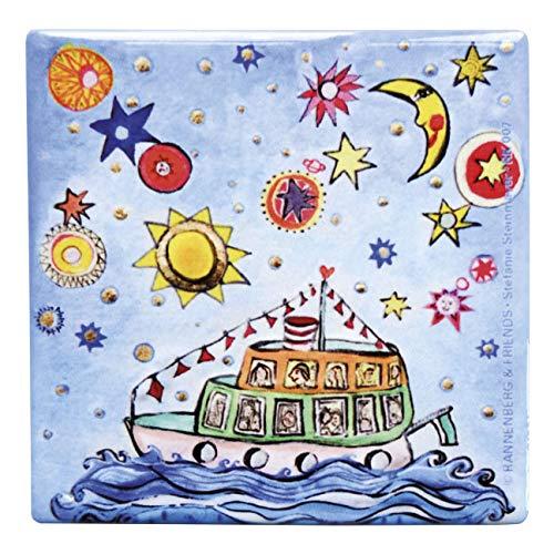 Rannenberg & Friends Untersetzer Kachel Porzellan 10,8 x 10,8 cm Das kleine Traumschiff Stefanie Steinmayer Unterseite mit Kork