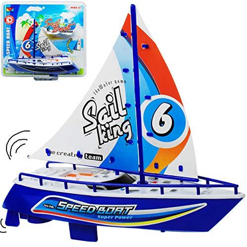 alles-meine.de GmbH Motor - Segelboot / Boot - mit Batterie - blau - schwimmt + fährt im Wasser - 24 cm - Wasserboot / Batterie betrieben - selbstfahrend elektrisch Antrieb - Bat..