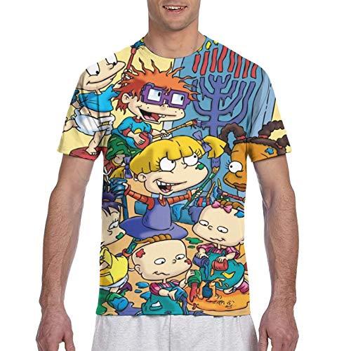 Anime Men's Short-Sleeved Full T-Shirt,America Anime Rugrats Poster Airy Tee Short Sleeve,Relaxed No Deformation Summer Clothing for Children Hanukkah XX-Large
