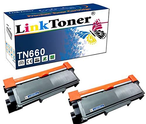 LinkToner TN660 - Cartucho de tóner Compatible con Brother TN-660 BK TN630 (2 Unidades, Impresora...