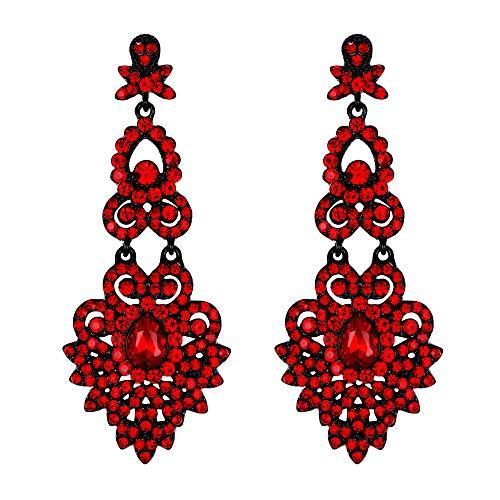 EVER FAITH Orecchini Donna Cristallo Nozze Vintage Stile Floreale Foglia Orecchini Lampadario pendenti Rosso Nero-fondo