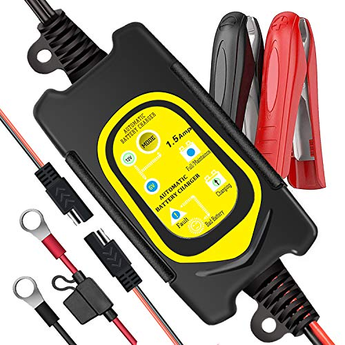 TANKPOW 6V/12V 1.5Amp Fully Automatic Smart Battery Charger, Trickle Charger, Battery Maintainer with Fault Battery Detection Safety Protection for Car Motorcycle Lawn Tractors Trucks Boat (Yellow)