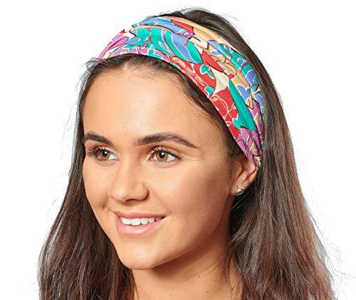 Antonia York, Stirnband für Damen, Turban, breites Kopfband Gr. Einheitsgröße, Mehrfarbiger Blattdruck