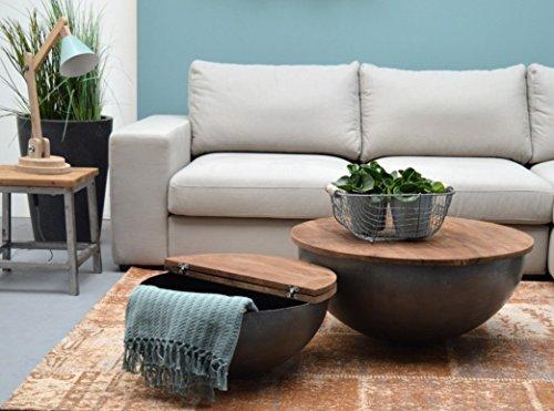 ESTO GmbH Couchtisch Bowl Suzan/Jenny Ø 60 cm Metall Mango massiv Beistelltisch Sofatisch Tisch