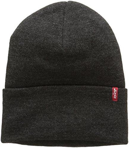 Levi's Unisex New Slouchy Beanie W Red Tab Detail Beanie, Grey (Dark Grey), One size