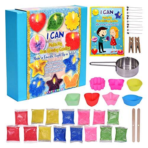 KRAFTZLAB El mejor kit para fabricación de velas - Incluye 5 colores de cera de vela, 7 moldes de vela, 10 mechas, 1 copa de fusión y más