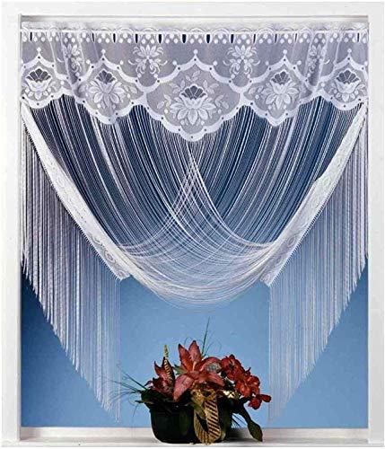 Fadengardine Vorhang Scheibengardine raffbar edler Jacquard weiß mit Blumen Borte - HxB 205x100 cm dekorierbar als gerader Store oder Raffgardine KÜRZBAR ...auspacken, aufhängen, fertig! Gardine Fadenstore Typ32