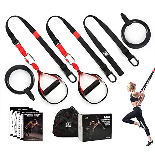 RitFit Bodyweight Resistance Training Kit with Integrated Door Anchors, Extension Strap and Two Gymnastic Rings Option, Fitness Straps for Total Body Workouts, Workout Guide Included (with Rings)