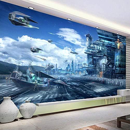 3D vliesbehang personaliseerbaar kunstenaarsschilderij Hd fantasie creatieve muurschildering Star Wars Science Fiction fotobehang kinderkamer woonkamer 3D vlies 200 x 140 cm.