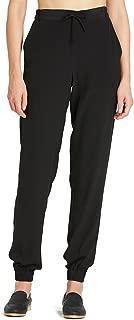 Women's Silk Pants 18MM Black Elastic Waist Long Trousers Casual Style
