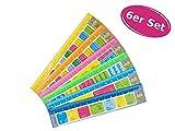 itsisa Lineal mit Spickzettel 6er Set - ausgefallenes Lineal mit Spickzettel, zum Schulanfang,...