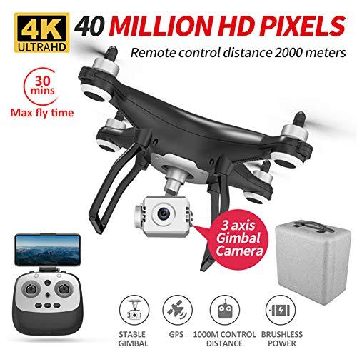 LYHLYH 4K HD Drone avec caméra pour Les Cadeaux Adultes Enfants, Trois Axes Drone panoramique d'inclinaison/Ultraléger et aérien brushless HD Portable Altitude Hover Plan