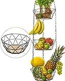 DEKOFY Obstkorb hängend - Exklusiver Obst Hängekorb mit längerer Kette [130cm] und...