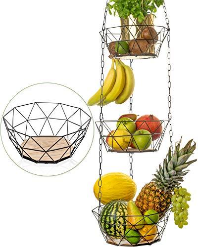 DEKOFY Obstkorb hängend - Exklusiver Obst Hängekorb mit längerer Kette [130cm] und Echtholzboden - individuell einstellbar - zur Obst Aufbewahrung, Hängekorb Küche, Hängekorb Obst, Hängender Obstkorb