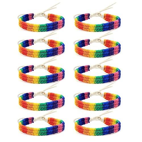 XIGAWAY 10 pulseras de cuerda de la amistad con el amor del arco iris, gay y lesbiana, tamaño ajustable para amantes de la joyería, Tela,