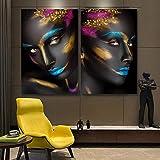ganlanshu Moderno Modelo Femenino Negro Pared Arte Cartel decoración del hogar Sala de Estar,Pintura sin Marco,40X60cmx2