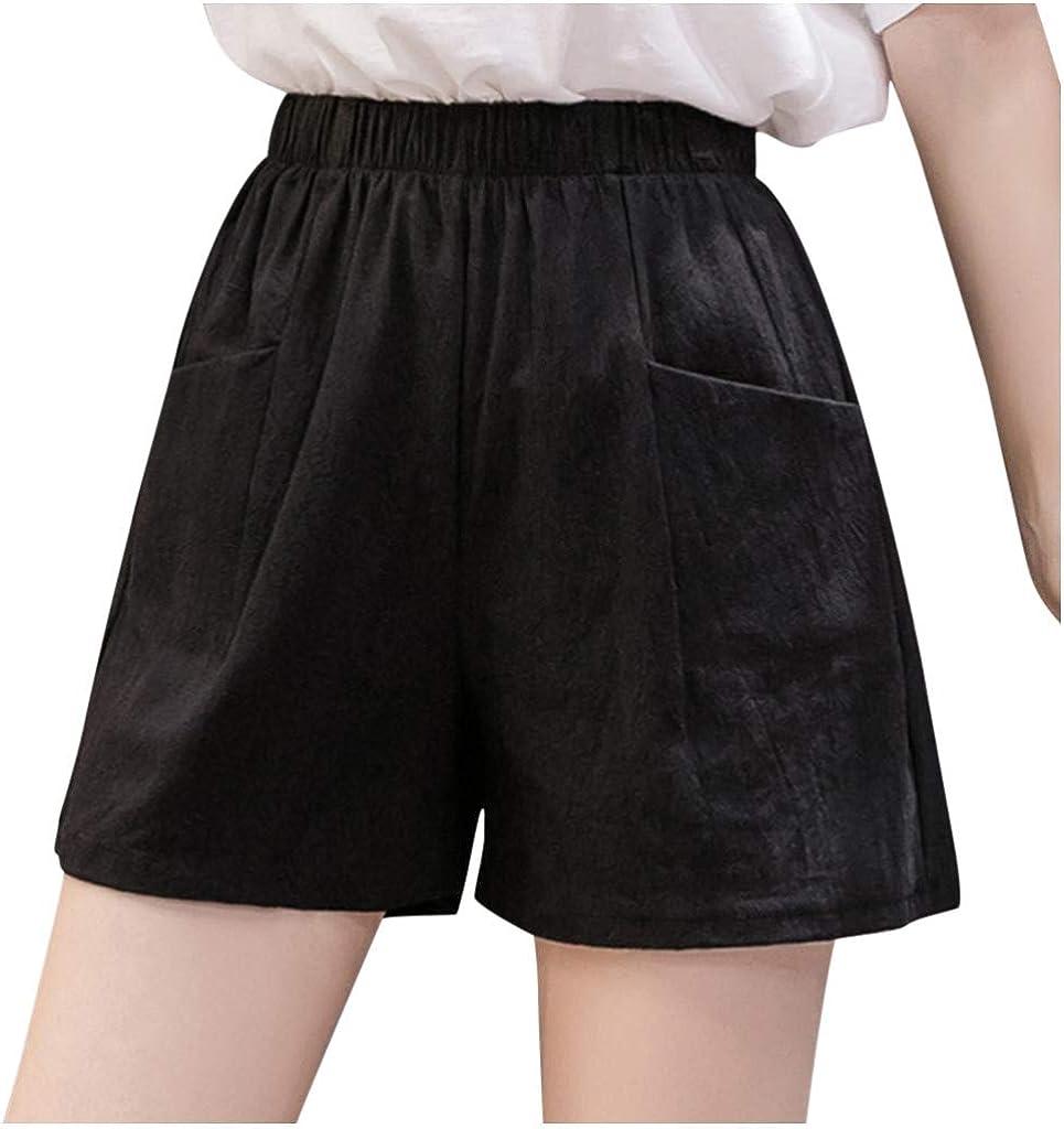 FUNEY Women Elastic Waist Casual Comfy Shorts Casual Plain Cotton Linen Shorts Bermuda Walking Jersey Shorts Lounge Pants