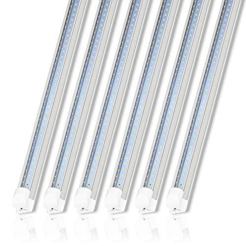 6 Pack 8FT LED Shop Light Fixture, 80W Integrated LED Tube Light, 10000LM, 5000K Daylight, Linkable Shop Lights, 8 Foot T8 LED Tube Light for Garage,Warehouse, Workshop, Plug and Play, ETL