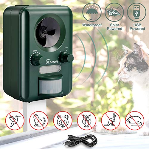VOLADOR Animal Repellent, IPX4 Waterproof Ultrasonic Cat Fox Repeller, Solar USB Powered Pet Dog Deterrent, Rabbit Rat Scare, Bird Repellent for Balcony Garden Yard Field Farm Warehouse[2020 New]