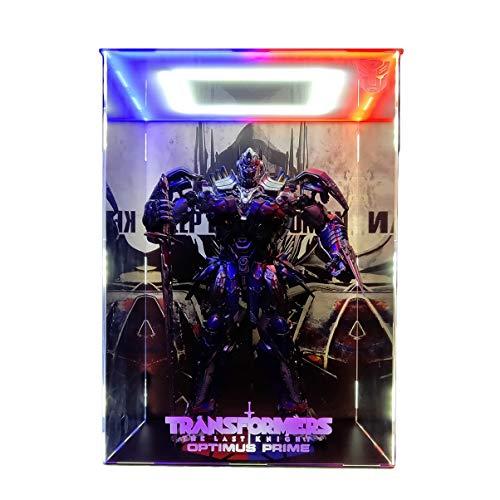 SNH 3A 19 Pulgadas Transformers 5 La Última Knight Optimus Prime Modelo acrílico Marco de la exhibición Caja de luz LED Hecho a Mano de PVC Figura Modelo GK Display Box Cover Polvo