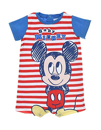 Barboteuse bébé garçon Disney Mickey Rayé Bleu et Rouge de 6 à 24mois - Rouge/Bleu, 24 Mois