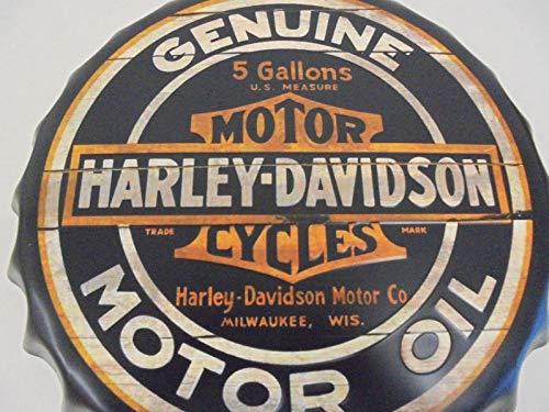 Placa de pared decorativa de 66retro, en metal en relieve, diseño de tapa de botella de cerveza redonda 'Harley Davidson A Timeless Tradition', diámetro de 40 cm