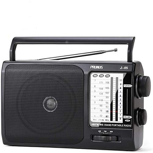 [Upgraded] PRUNUS J-05 Transistor Radio Battery Operated AM FM Radio with Excellent Reception, Portable Weather NOAA Radio Powered by 3X D Cell Batteries or AC Power for Household and Outdoor